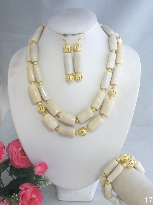 WKV67 A 5860 Amazing African Wedding White Coral Beads Jewelry Necklace For Wedding