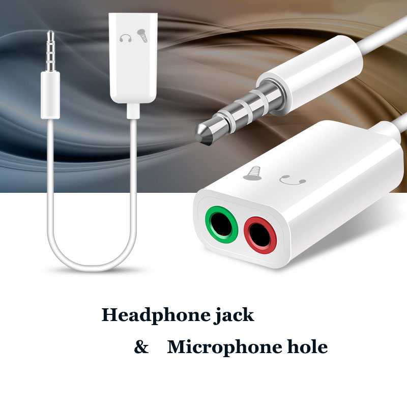 3.5mm Double Jack Headphone Splitter Microphone Audio Adapter 2 In 1 Headphone Jack Microphone Hole