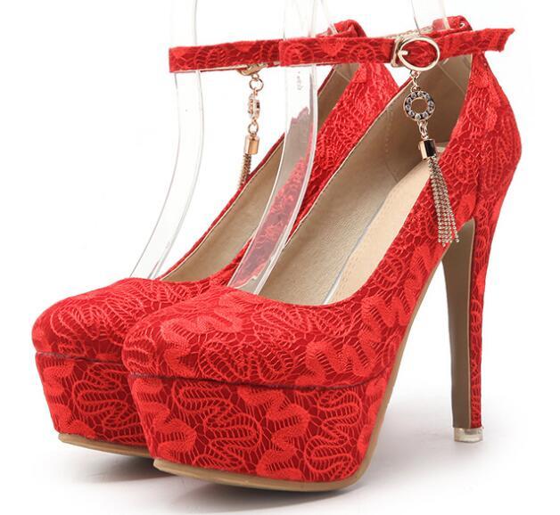 Plate Mince Chaussures jaune Mariée forme Étanche Mot rouge Sexy Haute Ultra Printemps Nouveau Unique Un Talon 33 48 Taille Boucle Beige IYb7vf6gym