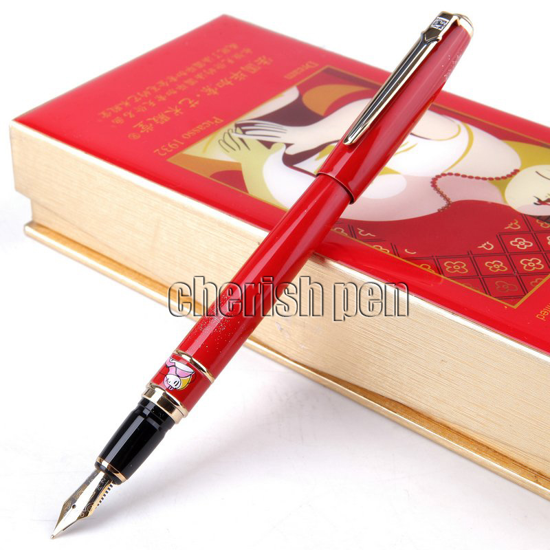 Picasso 966 Charm Red 0.5mm Iridium Nib Gem Fountain Pen with Original Box Metal Ink Pens for Christmas Gift Free Shipping hero 382 kawaii pink and gold clip 0 5mm iridium nib fountain pen set with a bottle ink metal pens for business christmas gift