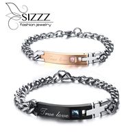 New True Love Bracelets For Couples 316L Stainless Steel Hand Chain Rose Gold & Black Plated Promiss Jewelry