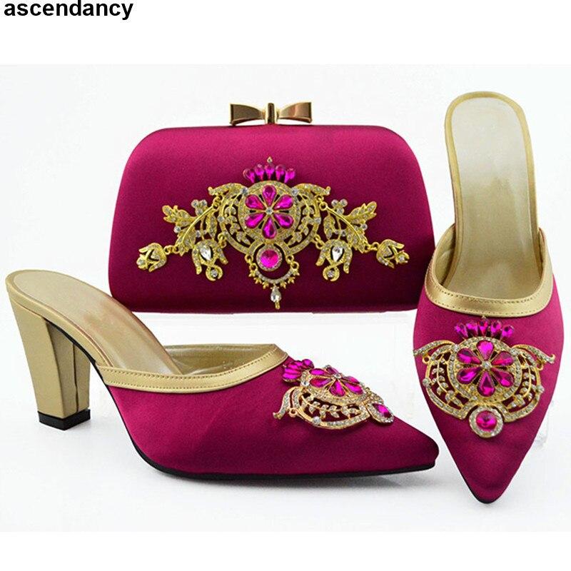 fb4d6b5e verde Llegada Mujer Zapatos De Nueva Real Magenta A FiestaBodaNovia Bolsas  rosado púrpura Bolso Juego Cristal Y negro oro Tacones ...