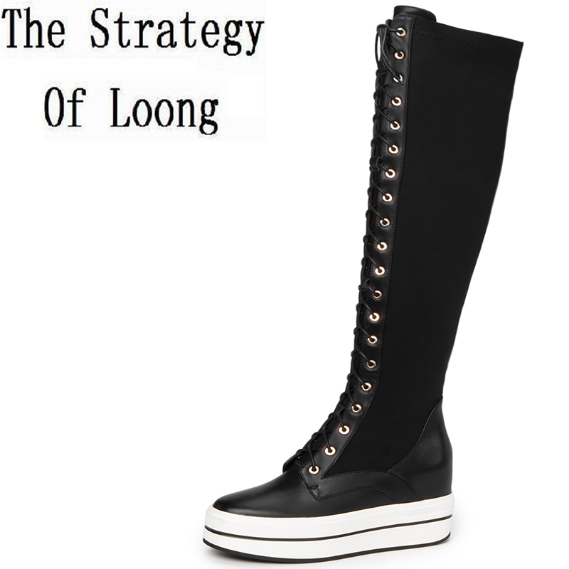 Winter Pure Color Lace Up Genuine Leather Chunky Flat Long Boot Women Casual Short Plush Cross-Tied Over The Knee Boots ZY170919 2017 new genuine leather elastic band chunky women ankle boot casual round toe anti skid spring autumn flat short boots zy170919