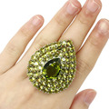 7# Big Drop Green Peridot SheCrown Created Woman's  Silver Ring 44x36mm