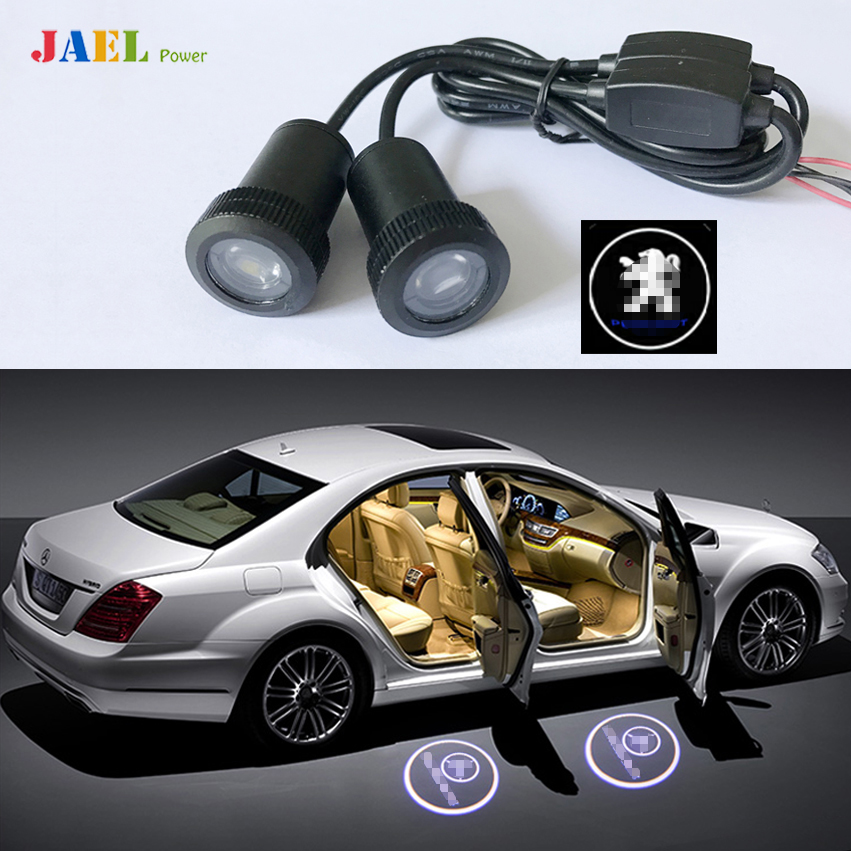 2PCs LED Door Ghost Shadow Light Courtesy Laser Projector Puddle lights Case For Peugeot Logo on the Ground