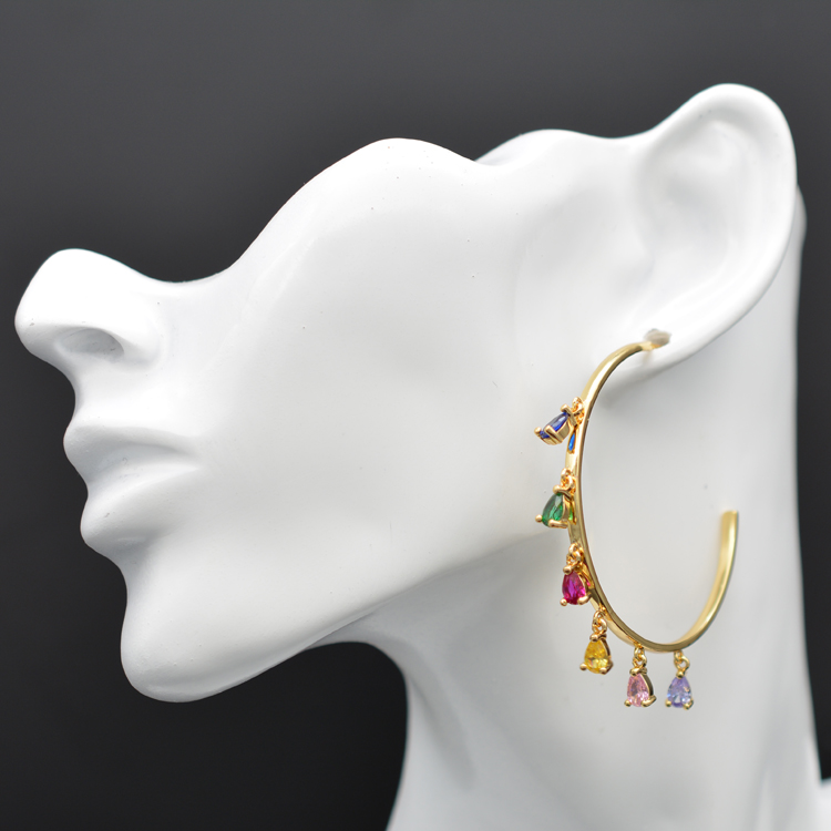 Rainbow colored drop shaped zirconia earrings are perfect for PROM ladies in Drop Earrings from Jewelry Accessories