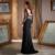 Mãe Da Noiva Vestidos New Arrival Apliques Pescoço Da Colher com Mangas Completa Frisada Preto Chiffon Bainha 2017 Vestido de Renda