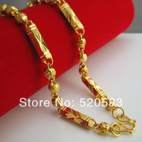 18K gold hexagon bead lovers of high end men's necklace