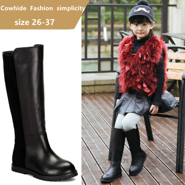 2016 Children's Shoes Boots Winter Princess High Top Boot Girls Big Knight Cowhide Stitching Warm High Quality Kids Boost