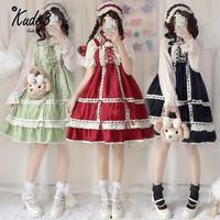 Lolita Dress Sweet Cute Japanese Kawaii Girls Princess Maid Vintage Baby Doll Lace Red Green Black Women Summer Skirt Bow 8446
