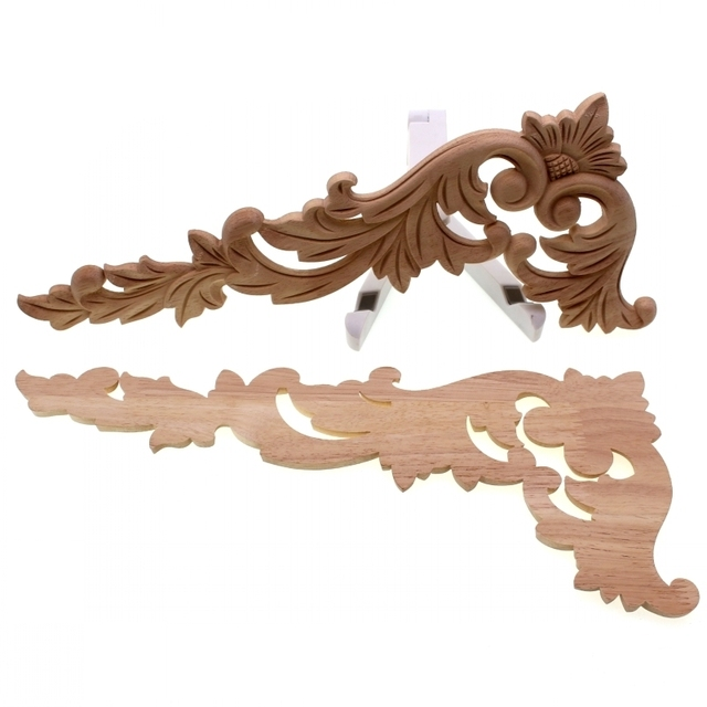 RUNBAZEF Floral Wood Carved Corner Applique Wooden Carving Decal  Furniture Cabinet Door Frame Wall Home Decoration Accessories 6