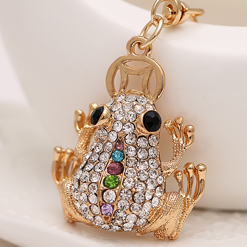 Creative Rhinestone Animal Frog Styling Keychain font b Novelty b font Trinket Key Chain Holder Women