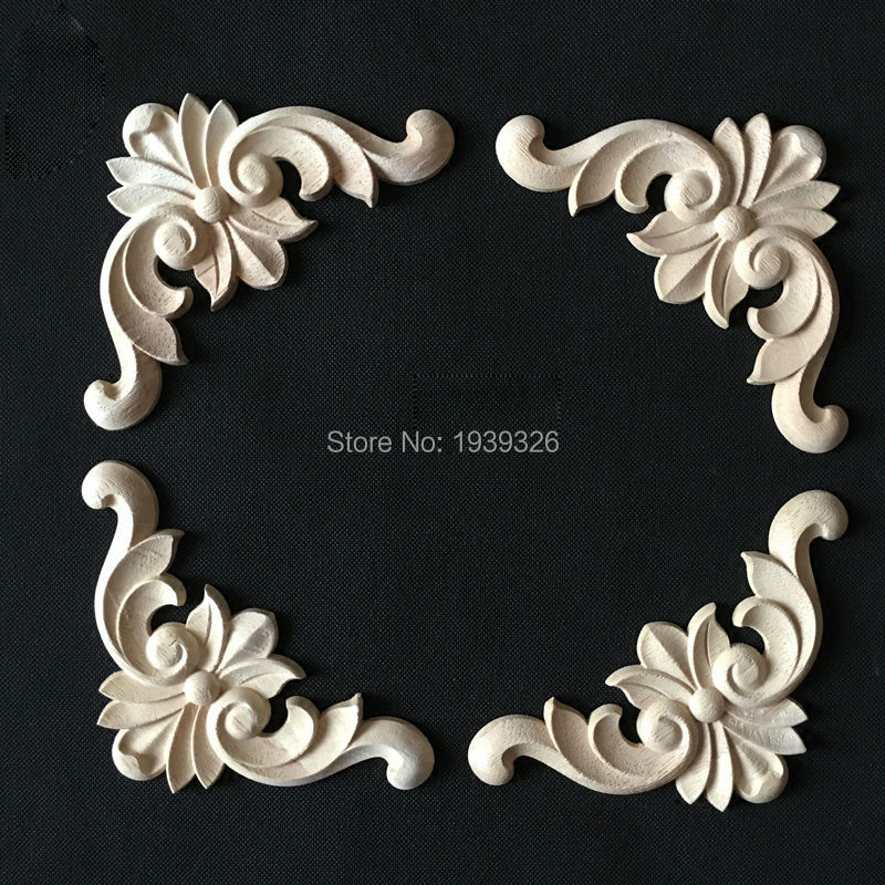 Antique 1 pcs Decorative Wood Appliques for Furniture Cabinet Door Natural  Wood Moldings Decals Flower Wood Carving Figurines-in Figurines &