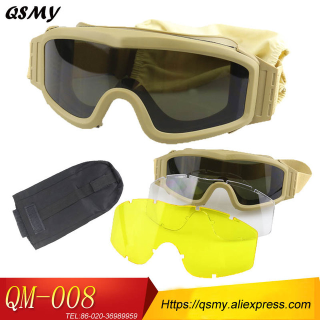 93e9dc29e76 Free shipment Top Quality Military Airsoft Tactical Goggles Shooting Glasses  3 Lens set Motorcycle Windproof Wargame Goggles