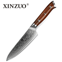 XINZUO 5inch Utility Knife Japanese Damascus Steel Kitchen Knife Professional Chef Knives Paring Peeling Knives Rosewood Handle