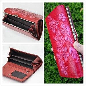Image 4 - Miyahouse billeteras de piel auténtica para mujer, carteras en relieve florales, carteras largas titular de la tarjeta femenina, billetera de lujo con broche de cuero, monedero de mano