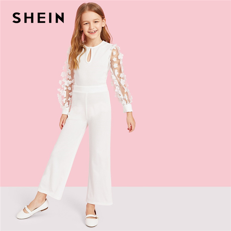 SHEIN Kiddie White Applique Mesh Sleeve Keyhole Neck Elegant Jumpsuit 2019 Spring Long Sleeve Wide Leg Girls Jumpsuits