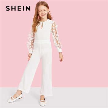 SHEIN Kiddie White Applique Mesh Sleeve Keyhole Neck Elegant Jumpsuit Teenager 2019 Spring Long Sleeve Wide Leg Girls Jumpsuits - DISCOUNT ITEM  40% OFF All Category