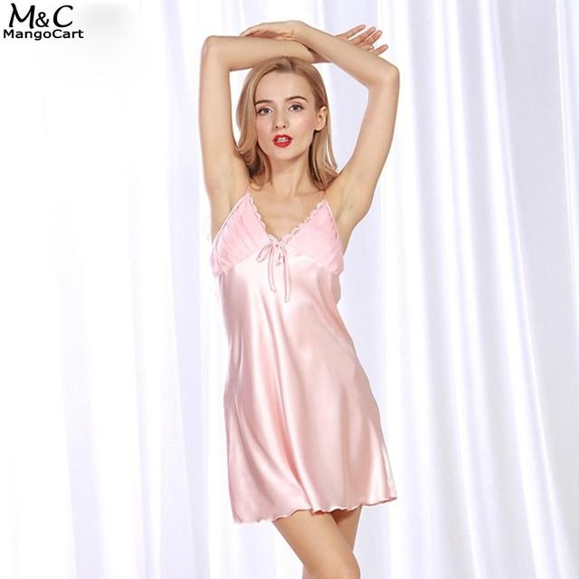 9bb0cae484 Women Nightgown Night Dress Sexy Lingerie Nightwear V-Neck Lace Trim  Sleepwear Bow Satin Babydoll Chemise Slips Nightdress