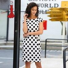 Deviz Queen Офисные наряды бренд 2017 с круглым вырезом в горошек Дизайн Женская Мода Элегантный женский pancil платье спереди с отделкой на талии B