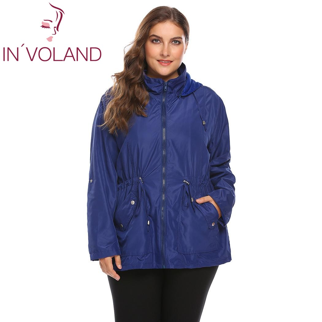 f3f250ad4f9 IN VOLAND Women Jacket Coat Plus Size XL-4XL Detachable Hooded Drawstring  Waist Windbreaker Military Large Raincoat Big Size