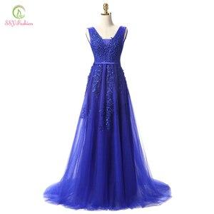 Image 4 - SSYFashion gorący bubel słodka lekka niebieska koronka dekolt sznurowanie długa suknia panna młoda Party Sexy suknie bez pleców na bal maturalny zwyczaj