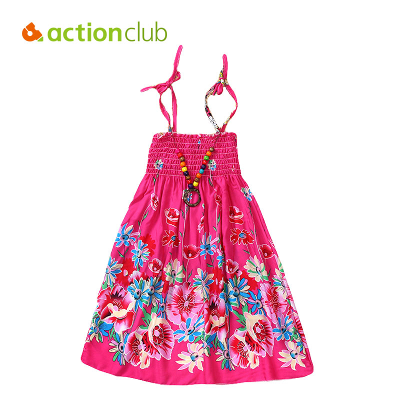 Actionclub Baby Girls Summer Dresses Sundress Bohemian Style Beach Dress Floral Party Dress With Necklace For Girls Clothing new summer style girls dresses fashion knee length beach dresses for girls sleeveless bohemian children sundress girls yellow 3t