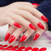 24 Pieces Hot Red Stiletto Almond False Nails Artificial Long Press On Nails 10 Sizes Full Cover Fake Nail Tips Manicure DIY(China)