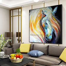 Large Size 100% Hand Painted Abstract Horse Head Art Painting On Canvas Wall Art Wall Adornment Picture Painting For Living Room 28 5 47cm original fake kaws pinocchio medicom toy factory product 100% real picture large size display art