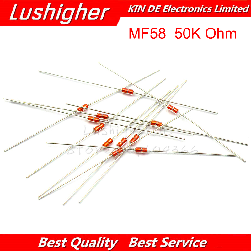 20 Pcs 50K MF58 Thermal Resistor NTC MF58 3950 B 50K Ohm 5% Thermistor