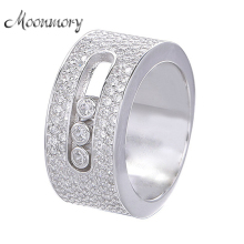 Moonmory S925 Sterling Silver Ring With Moveable Stone Clear Zircons Fashion Jewelry Real Silver Wide Wedding Rings For Women