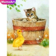 MomoArt Diamond Painting Cat Embroidery Full Square Rhinestone Mosaic Animal Cross Stitch Cartoon