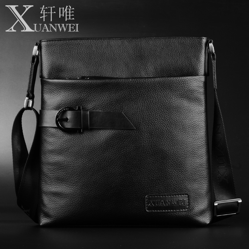 100% GENUINE LEATHER Men Bags XuanWei Black Brown Soft Casual and Business Shoulder & Crossbody Bags (XW-208big)