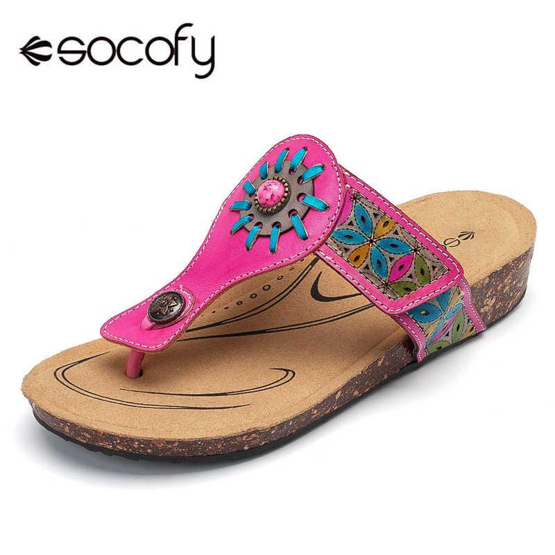 Socofy รองเท้าแตะชายหาดรองเท้าผู้หญิง Vintage ดอกไม้หนังแท้รองเท้าผู้หญิงฤดูร้อน Flip Flops แบนรองเท้าแตะ