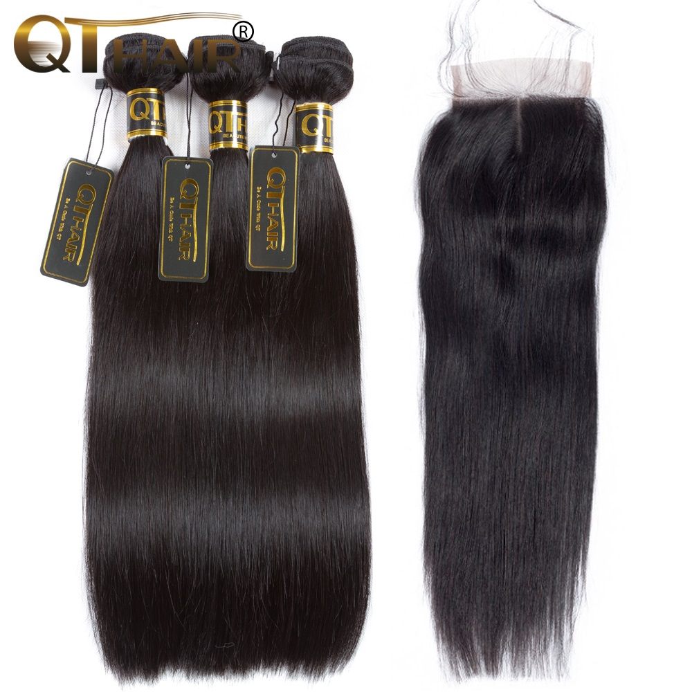QT Straight Hair Bundles With Closure Brazilian Straight Human Hair Weave 3 Bundles With Closure Human Hair Weft With Closure