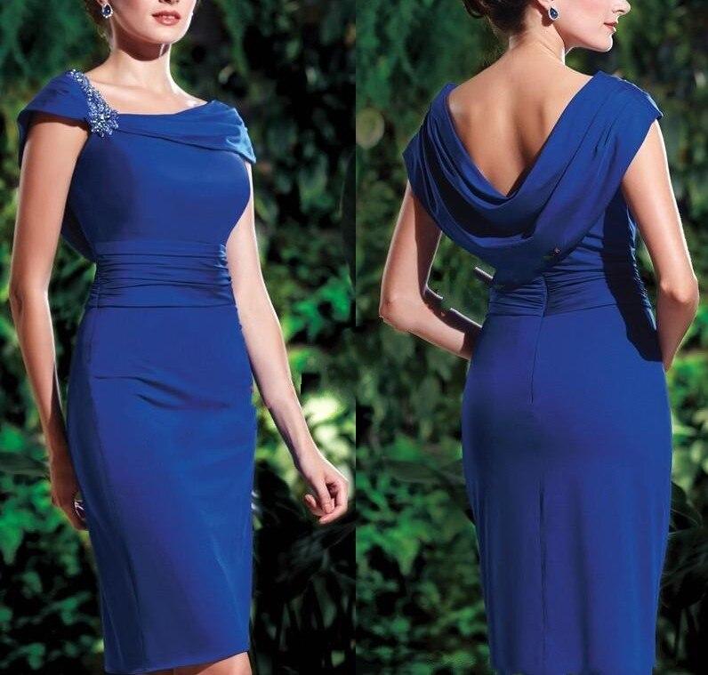 Сексуальная длина до колена бисер Оболочка невесты Мать платья для свадьбы шифон короткий синий Мать невесты платья vestidos de