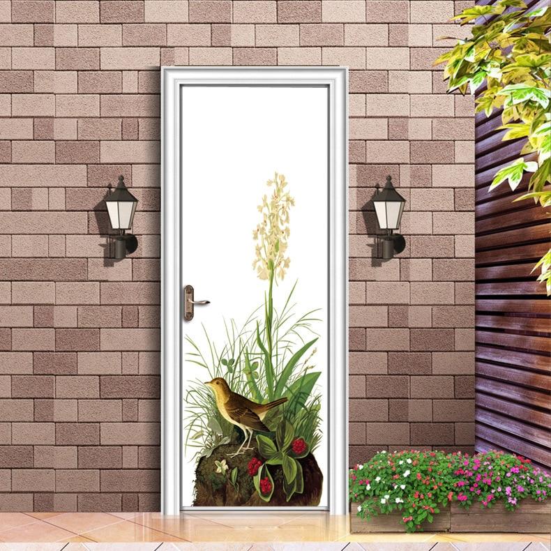 Floral Sticker Plant Mural Door Diy Wallpaper Wall Door Stickers For Living Room Home Decoration Background