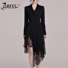 INDRESSME 2019 New Black Suit Dress Long Sleeve Deep V Irregular Lace Hem Aymmetrical Tassel Hem Mini Dress Women Sexy  Dress