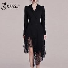 INDRESSME 2019 חדש שחור חליפת שמלה ארוך שרוול עמוק V סדיר תחרה מכפלת Aymmetrical טאסל Hem מיני שמלת נשים סקסי שמלה