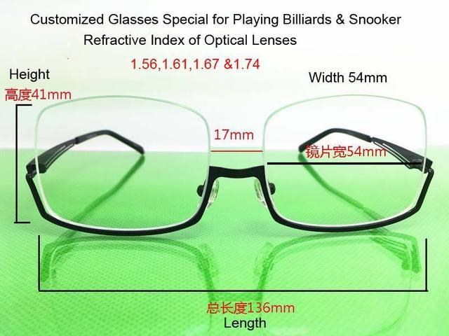 ce0efd0458 Semi-frame 136 41mm 4 Types R.I. Lenses Customized Nearsighted Glasses  Snooker   Billiard Light   Comfortable Fill Prescription