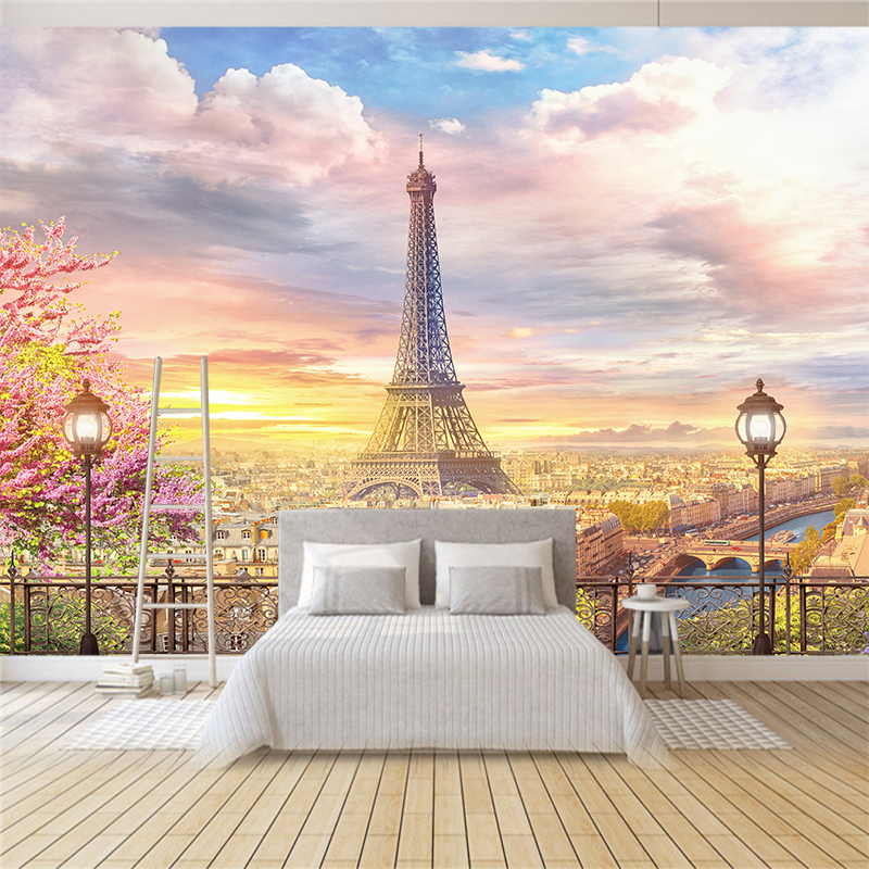 Custom Any Size 3D Wall Mural Wallpapers Modern Fashion Eiffel Tower Flowers 3D Perspective Wall Sticker YBZ129