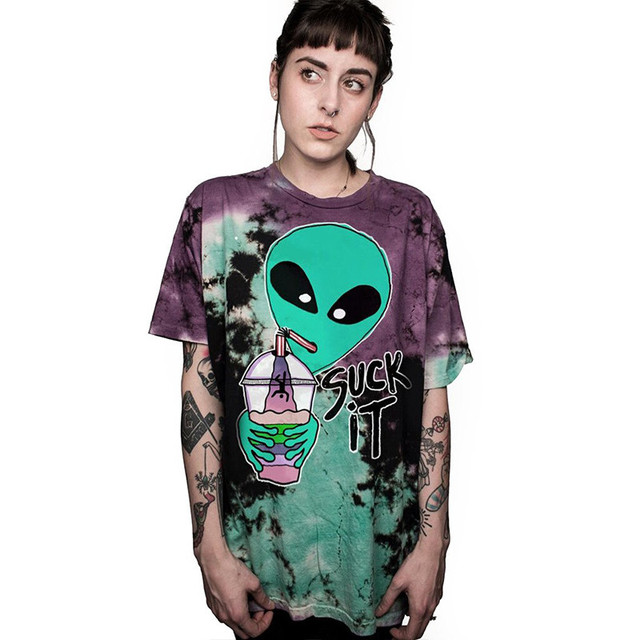 US $8 99 40% OFF Alien Suck It We Come In Pizza Goodbye Letter T Shirt  Crewneck Funny Casual T Shirt Lover Gift TShirts Women/Men Tees Clothing-in