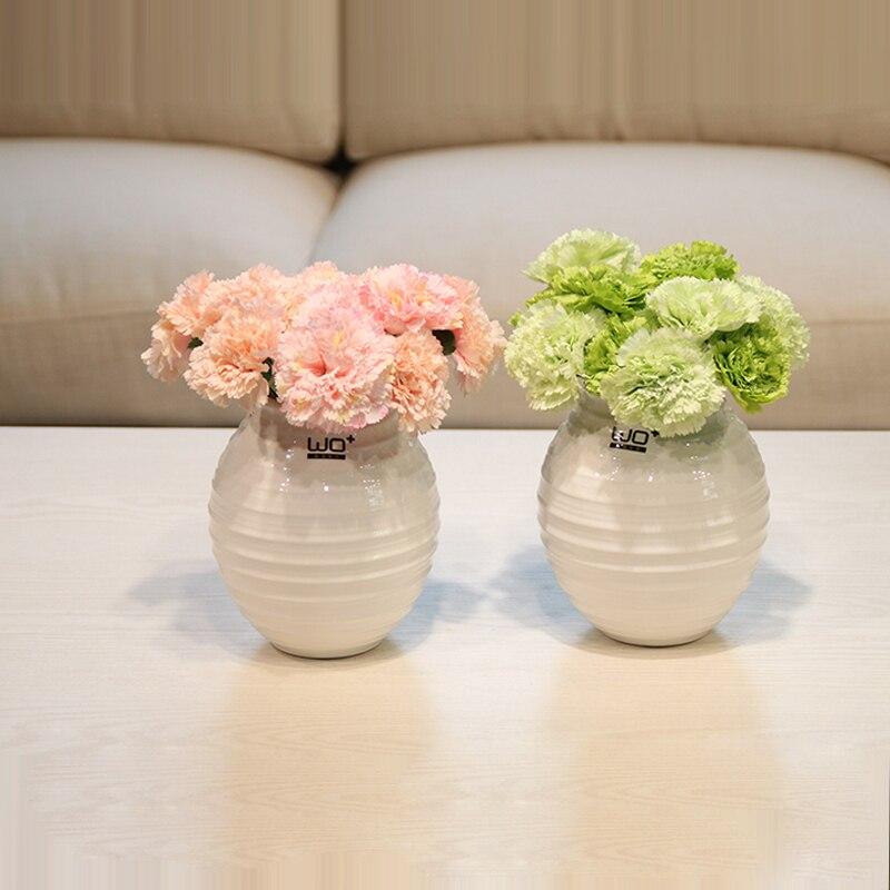 Fleur bonsaï œillets fleurs artificielles ensemble pot plante fleur en céramique verre vase décoration de la maison mère & #39 s jour cadeau