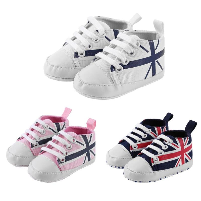 Casual Sports Sneakers Geometric Flags Baby Shoes Soft Soles First Walkers