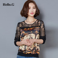 2016 Plus Size Sexy Hollow Out Lace Blouse Shirt Female Long Sleeve Animal Horse Printed Lace