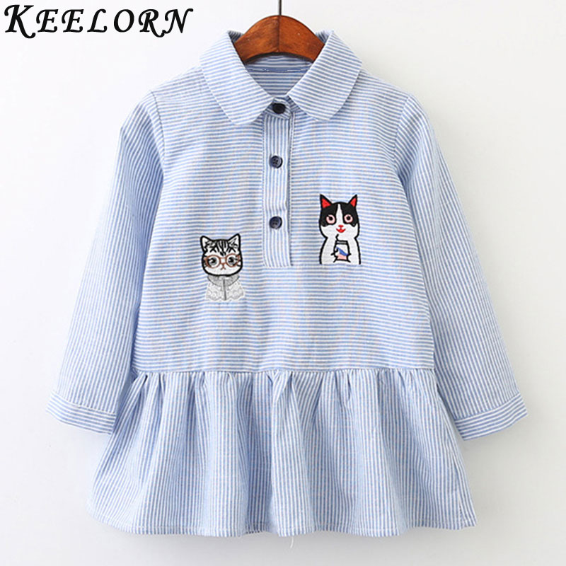 Keelorn Girls Dress Casual Style Kids Dresses For Girls 2017 Autumn Girls Clothes Cat Pattern Striped Shirt Dress Girls Clothing keelorn girls dress 2017 brand princess dresses kids clothes sleeveless banana leaf pattern print design for girls clothes