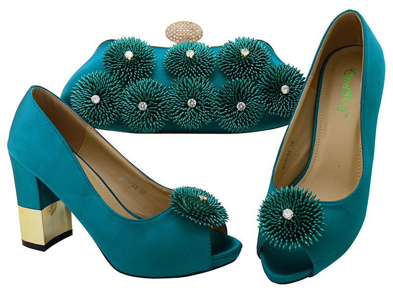 Italian Design High Quality Shoes and Bag To Match African Shoes and Bag Set  Nigerian Fashion party shoes and Bag Set  BCH-33A doershow high quality italian shoe and bag to match women shoes african party shoes and bag set green with rhinestone kh1 3