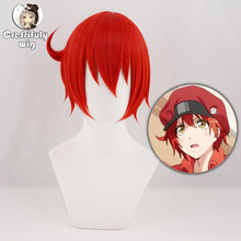 Cells at Work Red Blood Cell Cosplay Wig Short Costume Synthetic Hair Halloween RBC Seqkeqkyuu Play Wigs + Cap