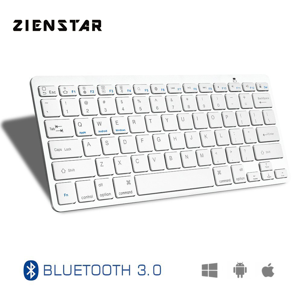 Zienstar Ultra Slim Wireless Bluetooth KEYBOARD for IPAD/Iphone/Mac/LAPTOP /DESKTOP PC/ TABLET,English Letter zienstar ultra slim wireless bluetooth keyboard for ipad macbook laptop computer pc and android tablet us english layout