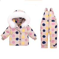 2019 Winter Children's Clothing Set Baby Girl Duck Down Jacket for Girl Coat + Jumpsuit Set Clothes Thicken Snowsear Skiing Suit